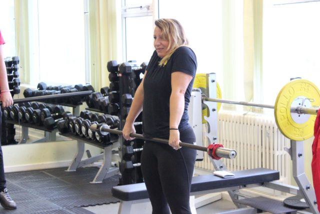 Lizzie Havers, Olympic Weightlifter from Lakeside Weightlifting demonstrates in the RTSFC Fitness suite