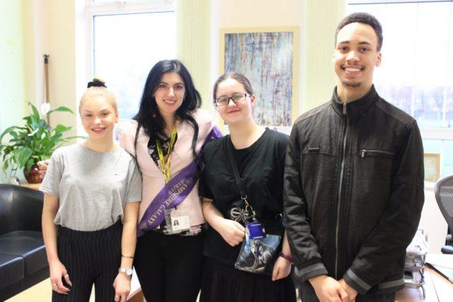 RTSFC Young Leadership Awards - L-R Student Emma Takacova, Rotary Mmebr Flavia Spooner, Student Gabrielle Thorne, Student Joseph Kitts